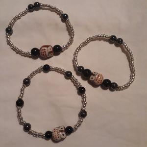 ☺3 Handmade semi precious stones stretchy bracelet